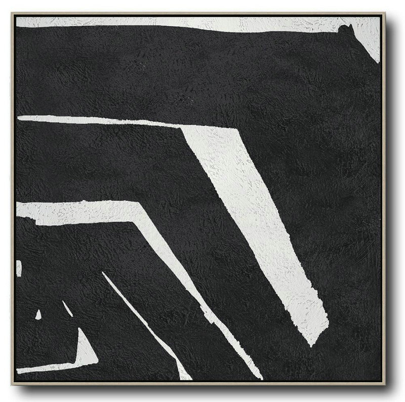 Oversized Minimal Black And White Painting,Acrylic Minimailist Painting #T4F1